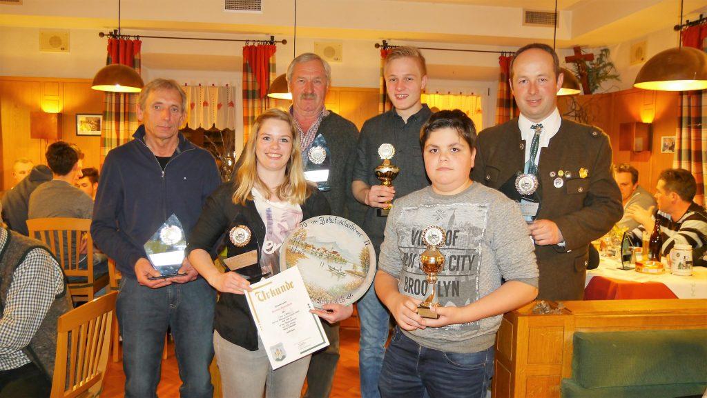 Jahresmeister und Scheibengewinner bei der Jahreshauptversammlung 2017